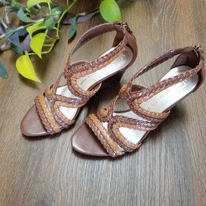 7 Etienne Aigner Brown &Tan Strappy Wedge …